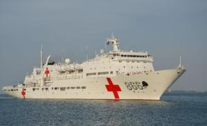 "Peoples' Liberation Army Navy Hospital Ship ""Peace Ark"". Xinhoa Photo"